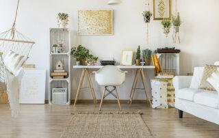 Cute, feminine desk setup in loft style apartment