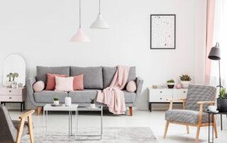 Cute, feminine living room space in modern loft apartment