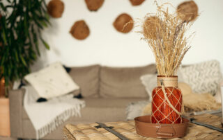 Rustic home accents in apartment with dry plants and neutral tones