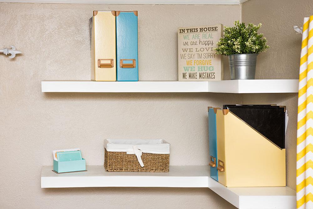 Corner shelf in loft apartment
